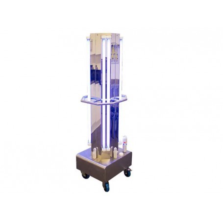Decontamination trolley by UVC applied to air and surfaces